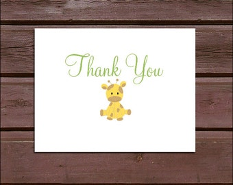 75 GIRAFFE Baby Shower Thank You Notes. Price includes printing.