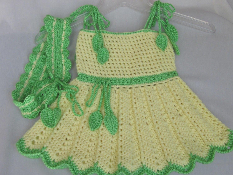Handmade crochet baby dress handmade yellow baby crochet dress and band set - Imitation origami owl ...