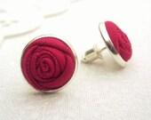 Pomegranate Pink Rose Earrings - Fabric Flower Silver Post Earrings in Summer Raspberry