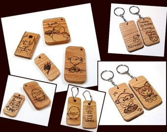 Customized Hand-engraved Wooden Keychain / Charm / Tag