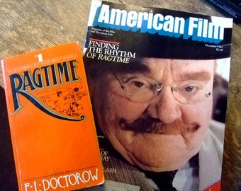 Ragtime, Vintage Best Selling 1976 Paperback, plus December 1981 American Film Magazine with James Cagney on Cover, Gift for Him, Christmas
