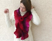 Felted wool ruffle hand dyed long scarf. Ruby red, burgundy, hot pink,  purple scarf, wet felt. SALE