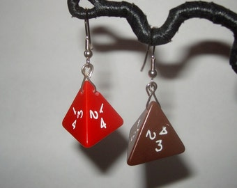 Vintage gaming dice upcycled toy earrings recycled kitsch kawaii red brown asymetrical jewelry pyramid