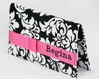 Black damask and hot pink Personalized Checkbook cover, Custom made checkbook case, women gift, Christmas gift for her.