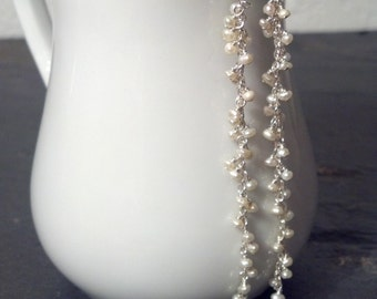 Long Sterling Silver and Pearl Drop earrings - Long Bridal Earrings