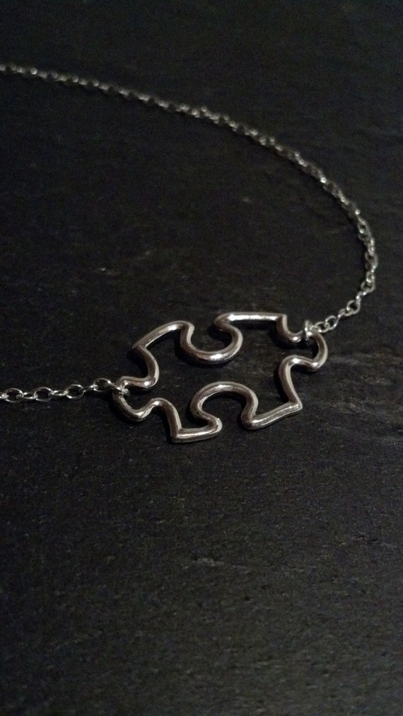 Sterling Silver Puzzle Piece Necklace- Autism Awareness