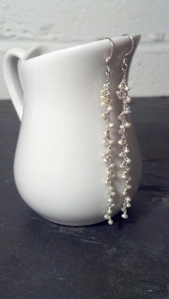 Long Sterling Silver and Pearl Drop earrings - Long Bridal Earrings