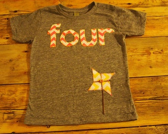 Girls Birthday Tee pink chevron and detailed yellow chevron pinwheel design Organic Shirt Blend first birthday second etc