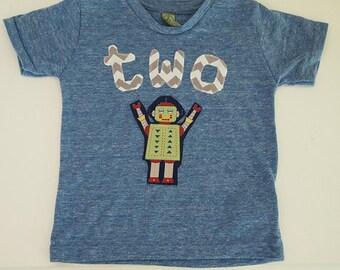 Robot Tee Boys Birthday Shirt Organic Shirt Blend chevron lettering