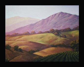 Hawkins Impressionist Art  Landscape California Vineyard wine  Plein air Style FRAMED Giclee print on Canvas