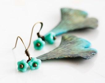 Turquoise Flowers Ginkgo Leaf Earrings Verdigris Patina Ginkgo Earrings Green  Rustic Leaf Jewelry - E233