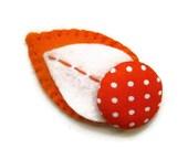 SALE - 20% REDUCTION Hair clip felt leaf polka dot orange cream fabric covered button