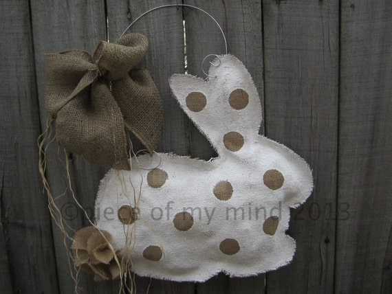 READY TO SHIP Burlap Door Hanger  Bunny with Tail