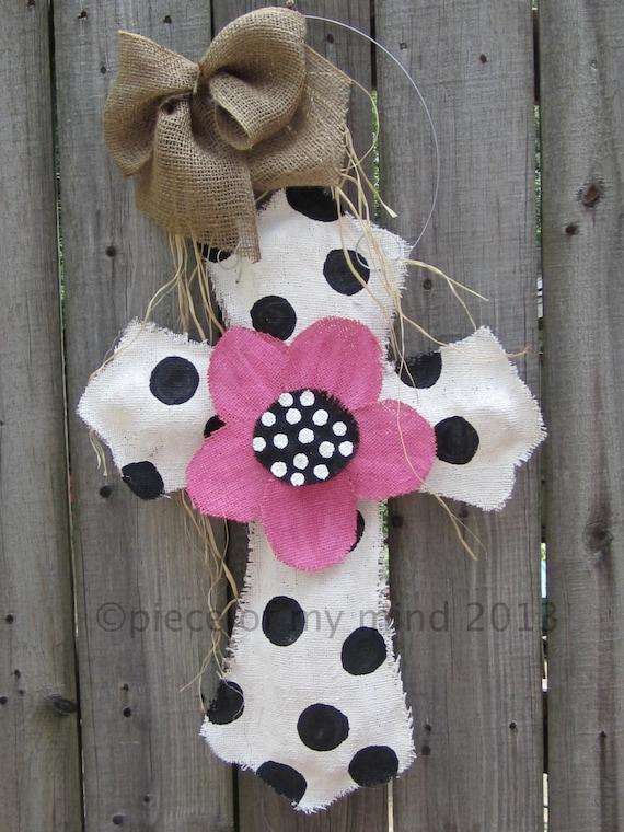 Burlap Cross Burlap Door Hanger Black and White with Flower