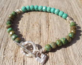 Faceted green turquoise & fine silver bracelet