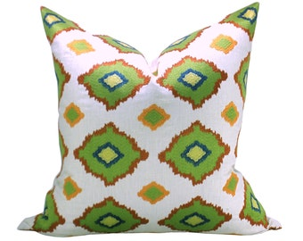 Schumacher Sikar Embroidery pillow cover in Citrus