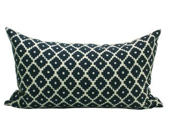 Schumacher Ziggurat lumbar pillow cover in Navy