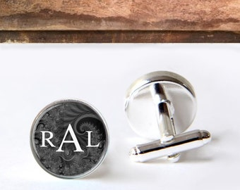 Monogrammed Cufflinks, Personalized Keepsake Cufflinks, Black And White Classic Cufflinks