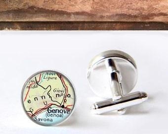 Custom Map Cufflinks, Personalized Cuff Links, Keepsake Gift