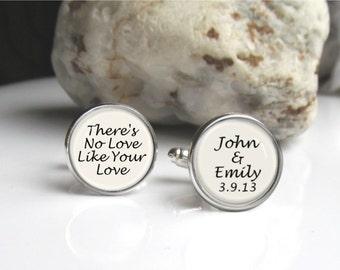 Personalized Cufflinks, Groom Cufflinks, Wedding Cufflinks Customized With Names And Date