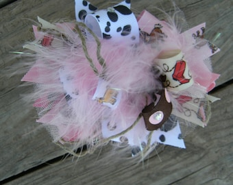 cow girl hair bow-overthe top bow-baby hair clip