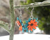 Bright Orange and teal Cantaloupe and Poppy Seed Flower Earrings
