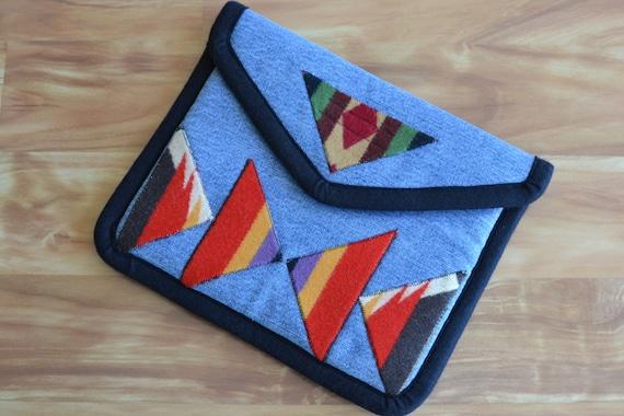 iPad Cover sleeve case - Wool embellished repurposed denim  - Velcro closure - ooak upcycled recycled denim jeans