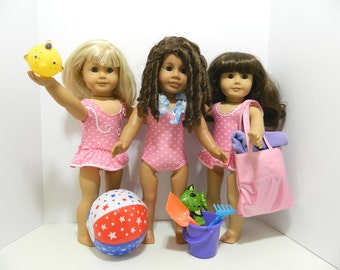 Swimsuit and Beach Toys for American Girl, Bitty Baby and Other Dolls