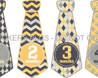 Baby Month Stickers Monthly Tie Sticker Monthly Baby Boy Stickers Bodysuit Stickers Yellow Gray Black Chevron Argyle  1-12 Months