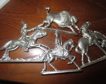 Vintage Greenfield Village 4 metal Figures Indian, Buffalo, Cowboy, Soldier toy souvenirs kitschy animals
