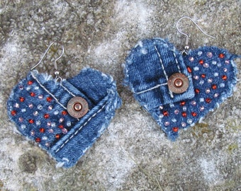 Earrings - Heart Shaped Recycled Lucky Brand Denim Hand Beaded Upcycled