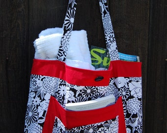 Handmade Beach Bag, Tote, Purse, Diaperbag Black, White and Red- Ready To Ship