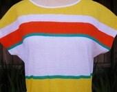 vintage 70s white orange yellow stripe shirt top w belt m l b38 nos preppy secretary sears