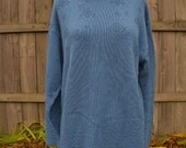 vintage 80s blue tunic sweater l diamond pattern country blue new wave made in usa