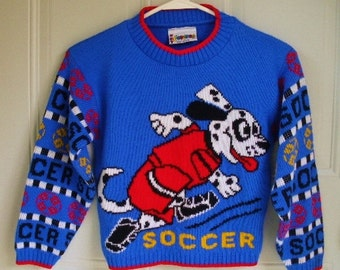 vintage 80s kids blue soccer sweater size 6 happy spotted dalmatian dog playing soccer made in usa