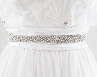 CHLOE - Scattered Rhinestone Beaded Bridal Sash, Wedding Belt