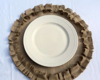 Burlap Placemats Round Burlap Placemats with Ruffles Rustic Table Settings Rustic Wedding Table Decor Modern Rustic Home Decor