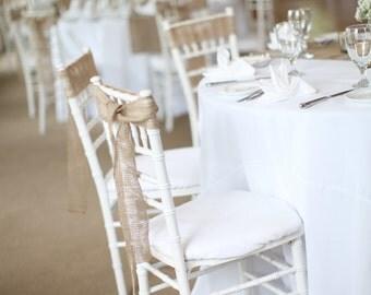 Burlap Chair Sash Stitched Rustic  Wedding Decor