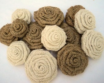 Set of 6 Burlap Roses Natural and Ivory Burlap Flowers Burlap Wedding Decorations