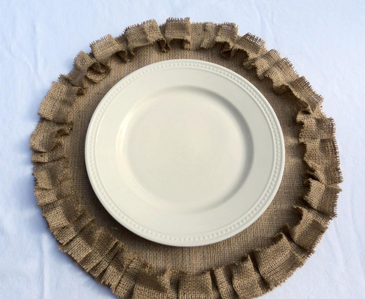 Burlap Placemats Round With Ruffles Rustic