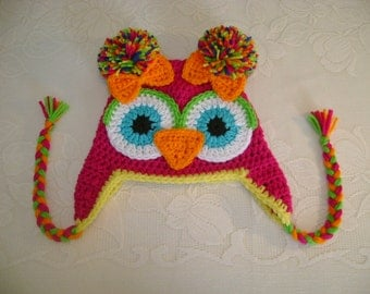 Pink and Yellow Crocheted Owl Hat Available in Any Size or Color Combination