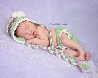 Striped Hat and Diaper Cover Photo Prop Set - Choose Your Own Colors - Available in Newborn, 3 to 6, 6 to 12 and 12 to 24
