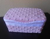 Baby Wipes Nursery Box Pink Minky Dot With White Trim
