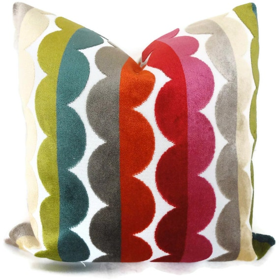 Jonathan Adler Decorative Pillow Cover, Accent Pillow, Multicolor Semi Circle Velvet throw Pillow, Pillowcase, Accent Pillow, Pillow cushion