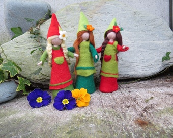 Felted pixies in red and green, Price for one