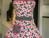 Valentines Apron-Womens Aprons-Valentines Day White Hearts & Butterflies Double Skirt Apron