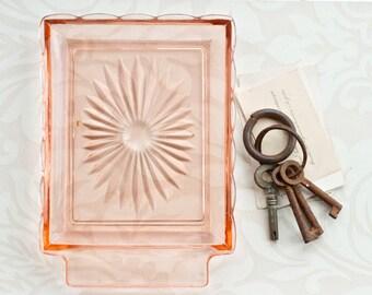 Art Deco Bonbon Dish - Clear Pink Glass