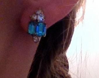 Aquamarine and rhinestone earrings by Bogoff