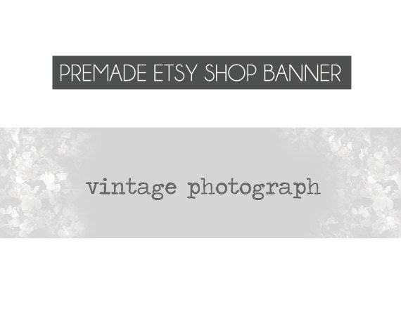 premade Etsy Shop Banners - grey and white flower field, vintage - Vintage Photographs