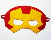 Ironman Superhero felt Mask - Red Yellow - soft kids costume - gift for boys girls - Dress Up play accessory